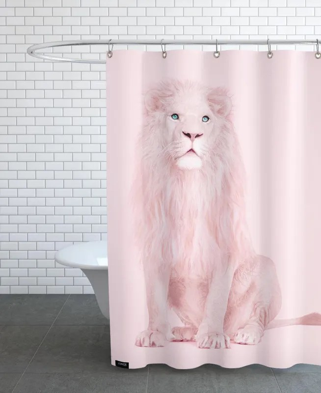 albino lion shower curtain
