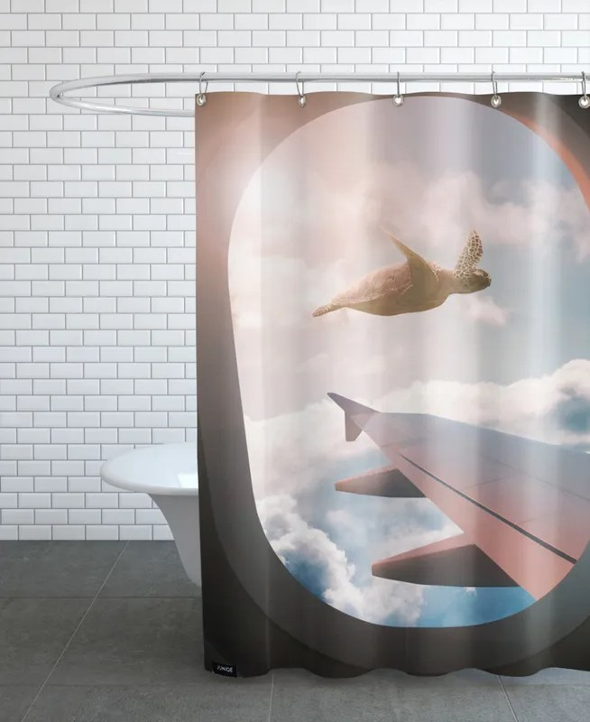 flying turtle shower curtain