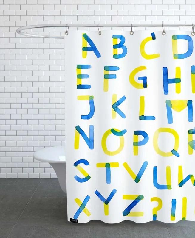 colourful alphabet shower curtain