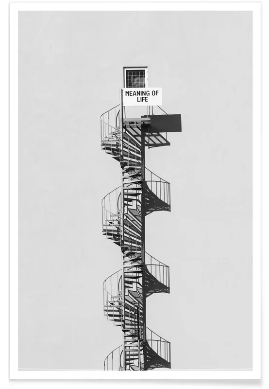 meaning of life black white poster