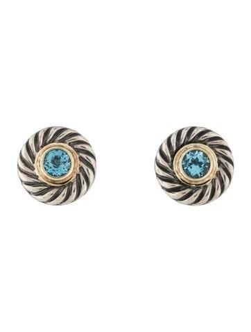 David Yurman Two Tone Blue Topaz Cookie Stud Earrings