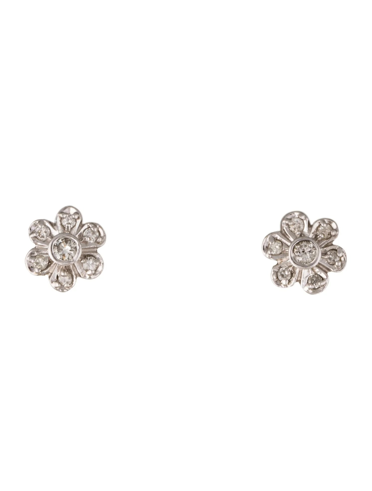 14K Diamond Flower Stud Earrings Earrings EARRI37389