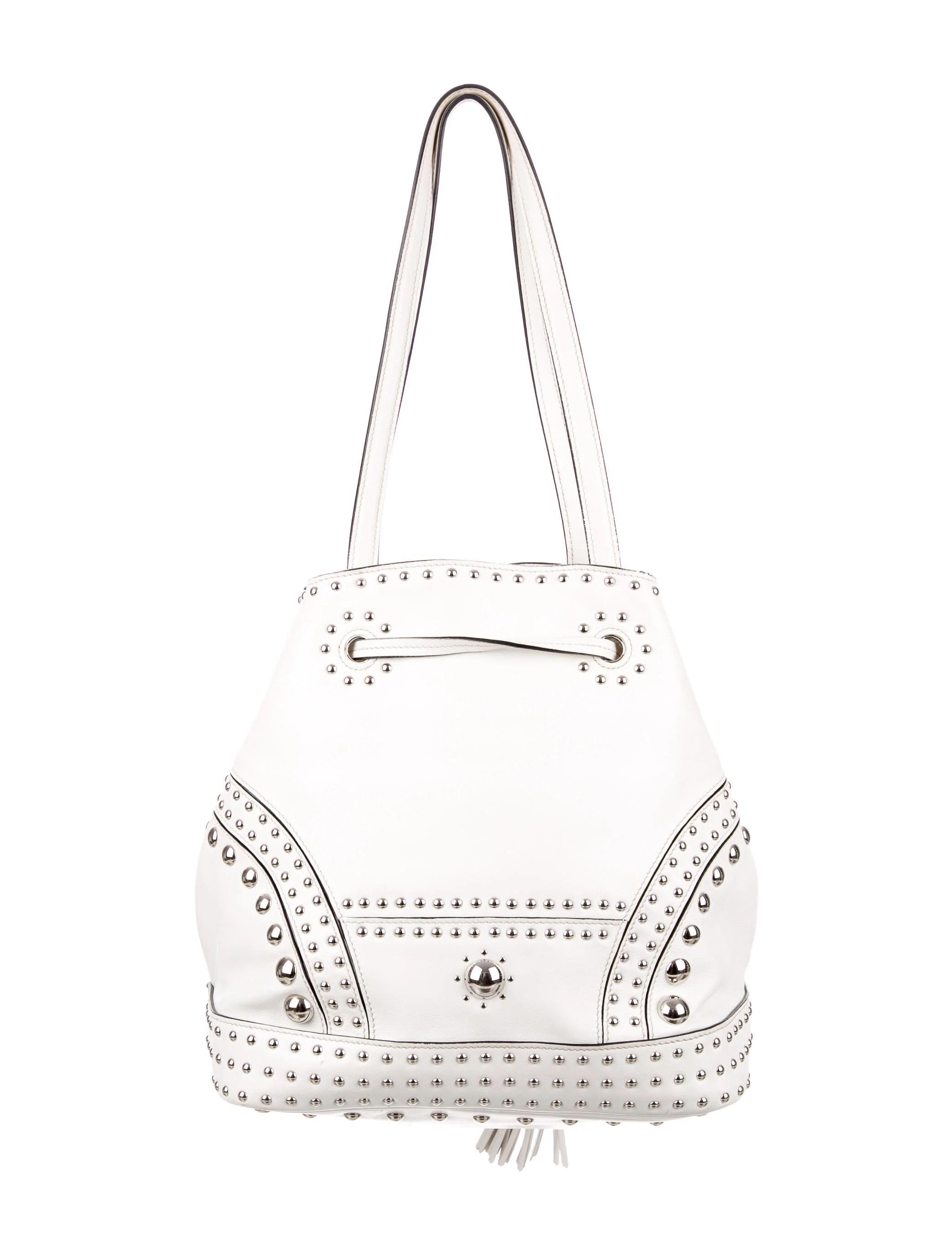 Prada Soft Calf Studded Bucket Bag