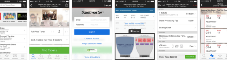 Ticketmaster App Purchase Flow