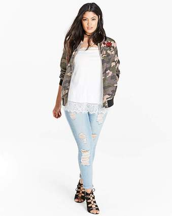 Fashion World Soft Touch Camoflauge Bomber Jacket GREEN PRINT