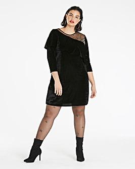 Black Velvet Embellished Shoulder Dress