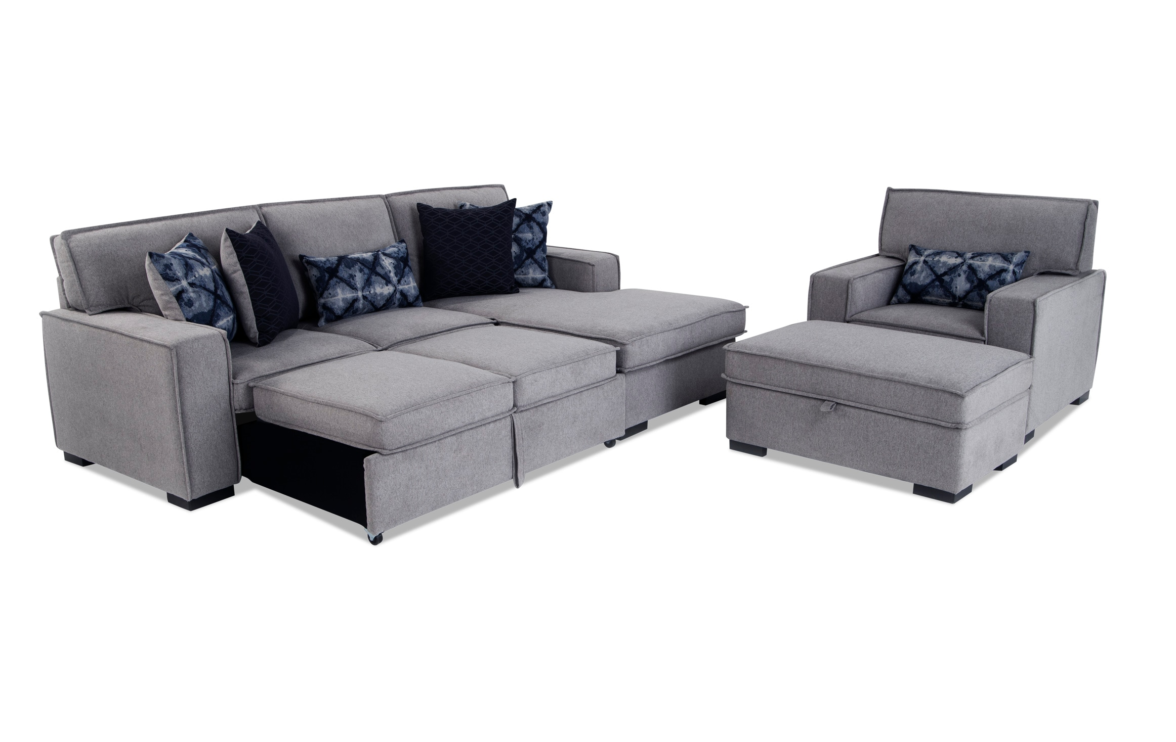 Playscape Gray Left Arm Facing Sectional With Chair Ottoman Bobs Com