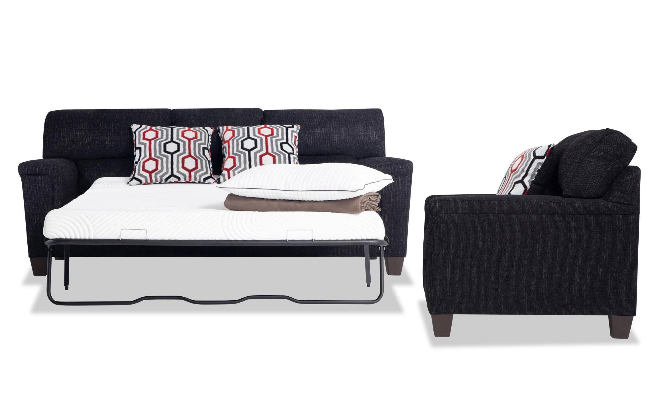 Calvin Onyx Black Bob O Pedic Queen Sleeper Sofa Chair Bobs Com