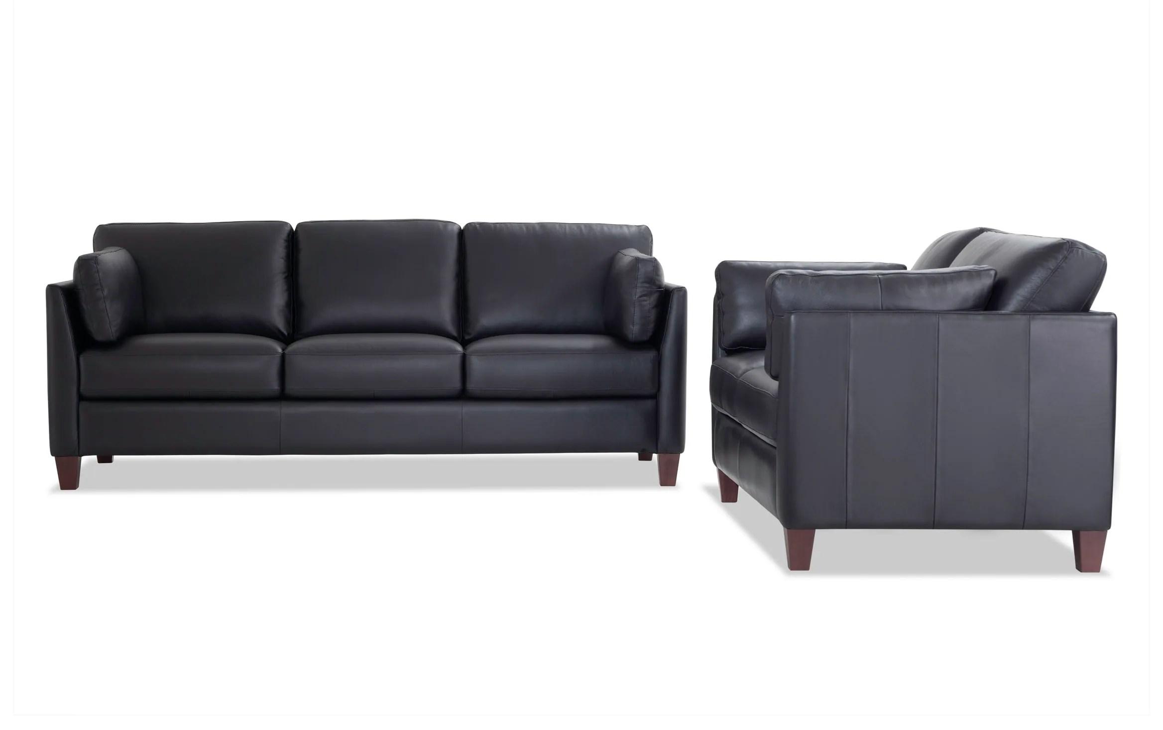 Antonio Black Leather Bob O Pedic Queen Sleeper Sofa Loveseat Bobs Com