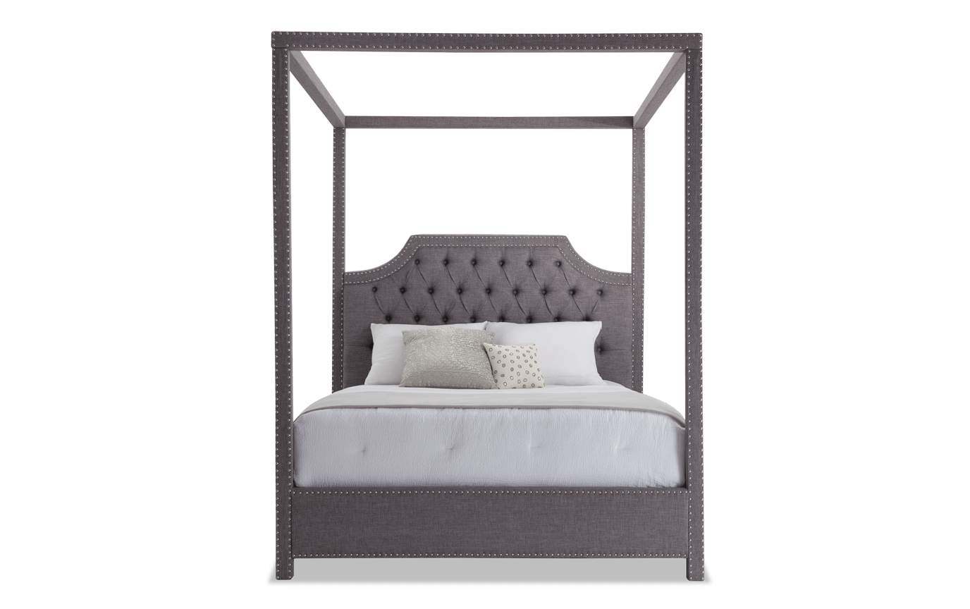 Sutton Queen Gray Canopy Bed Bobs Com
