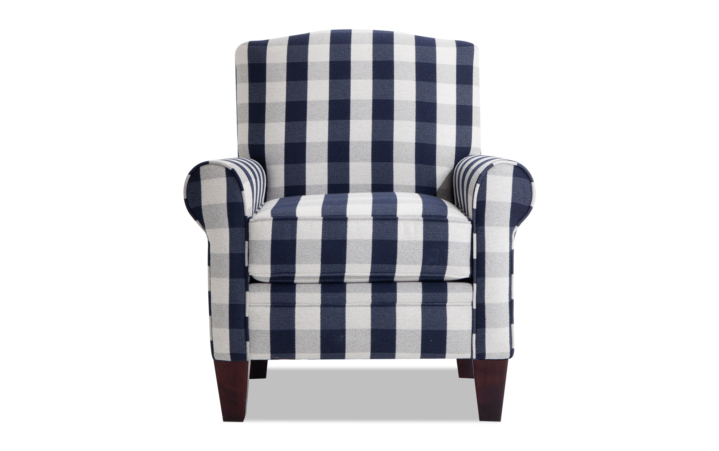 Cottage Chic Navy Plaid Accent Chair Bobs Com