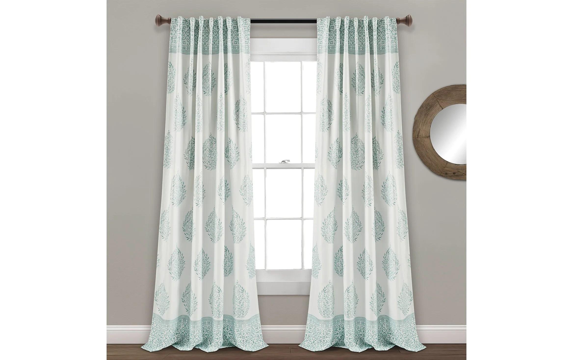 set of 2 tear 52 x 95 blue curtain panels