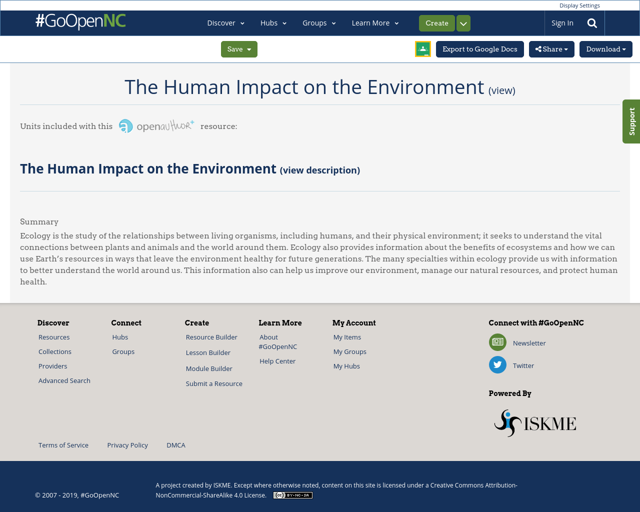 The Human Impact On The Environment Goopennc