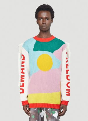 Walter Van Beirendonck Demand Freedom Knit Sweater in White