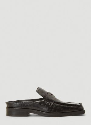 Martine Rose Arches Embossed Text Loafers in Black
