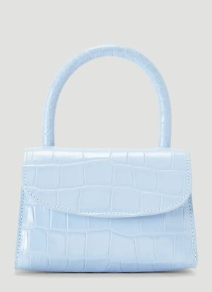 by Far Mini Crocodile Embossed Bag in Blue