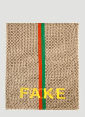Gucci Fake Not Scarf in Brown