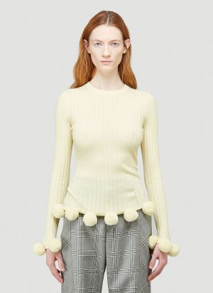 JW Anderson Pompom Ribbed Sweater in Yellow