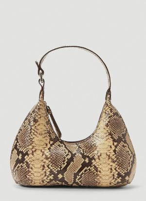 by Far Baby Amber Snake-Print Handbag in Brown