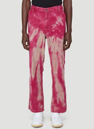 Stain Shade X Carhartt Tie-Dyed Carpenter Pants in Pink