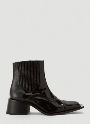 Martine Rose Squared-Toe Ankle Boots in Black