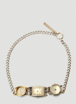 Marine Serre Watch Dial Necklace in Silver