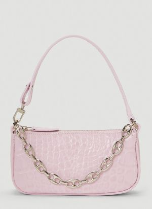 by Far Mini Rachel Crocodile Embossed Shoulder Bag in Pink