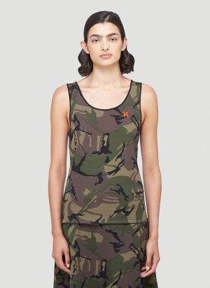Kwaidan Editions Camouflage-Print Tank Top in Brown
