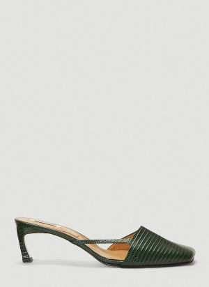 Reike Nen Cut-Out Heeled Mules in Green
