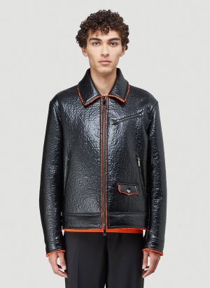Valentino Faux-Leather Jacket in Black