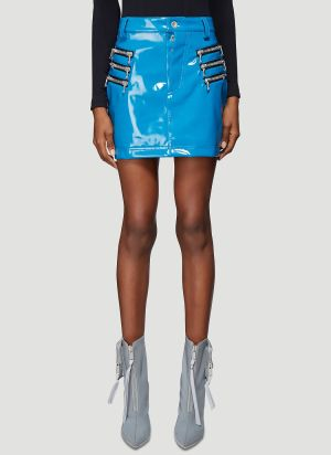 Unravel Project Latex Triple Zip Skirt in Blue