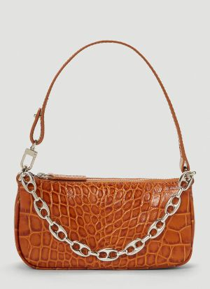 by Far Mini Rachel Crocodile Embossed Shoulder Bag in Brown