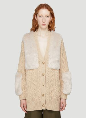 Stella McCartney Faux-Fur Trimmed Cardigan in Beige
