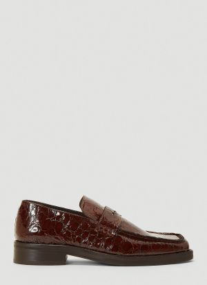Martine Rose Roxy Embossed Loafers in Brown