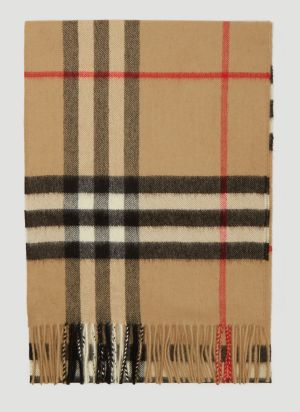 Burberry Vintage Check Knit Scarf in Beige