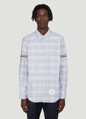Thom Browne Armband Checked Oxford Shirt in Grey