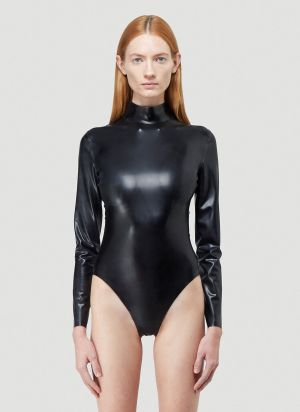 Saint Laurent Latex Bodysuit in Black