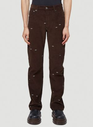 Phipps Embroidered Corduroy Jeans in Brown