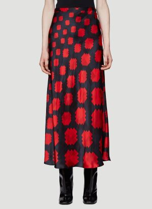 Marni Pixel-Print Shift Skirt in Red