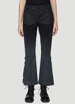 Olivier Theyskens Hook And Eye Flared Bottom Jeans in Black