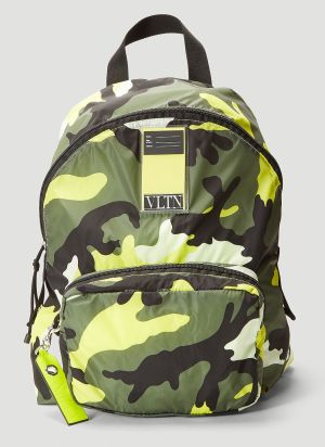 Valentino VLTN My Tag Camouflage Backpack in Yellow