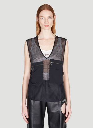 Off-White Cargo-Pocket Mesh Gilet in Black
