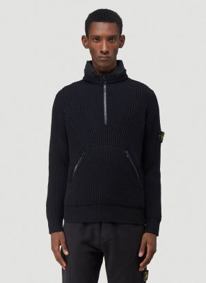 Stone Island Hooded Knit Sweater in Black