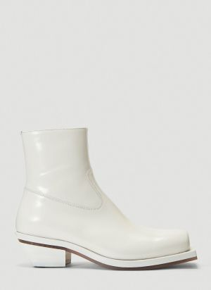 ION Squared-Toe Cowboy Boots in White