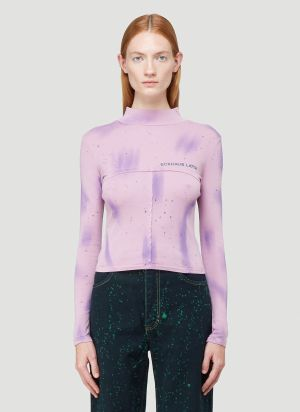 Eckhaus Latta Lapped Baby Turtleneck Top in Purple