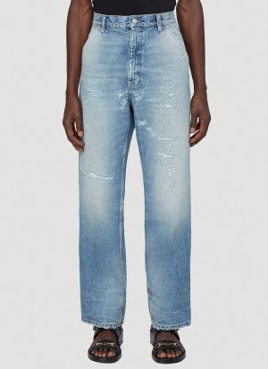 Gucci Distressed Wide-Leg Jeans in Blue
