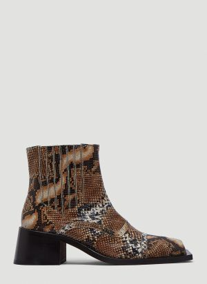 Martine Rose Square-Toe Boots in Brown