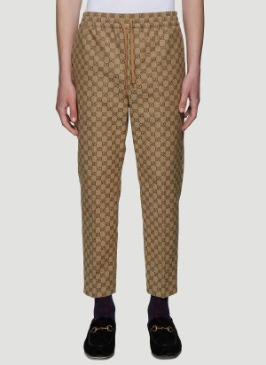 Gucci GG Logo Jacquard Track Pants in Beige