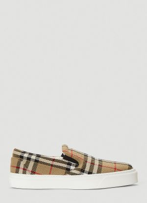 Burberry Vintage-Check Slip-On Sneakers in Beige