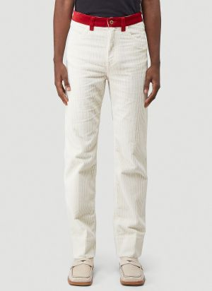 Wales Bonner Dub Contrast Waistband Jeans in White